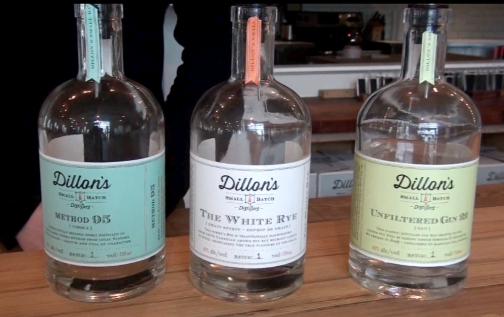 Dillon's vodka, white rye and unfiltered gin