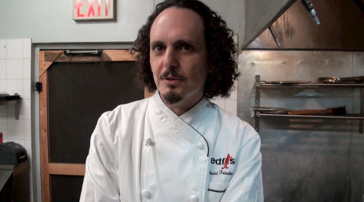 Chef David Friedman at home in the kitchen at Redfish