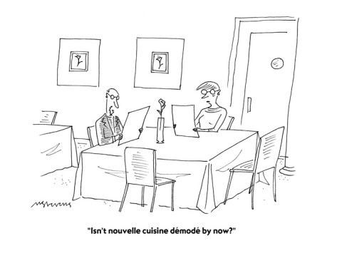 A Mick Steven's cartoon poking fun at the Nouvelle Cuisine of the time.