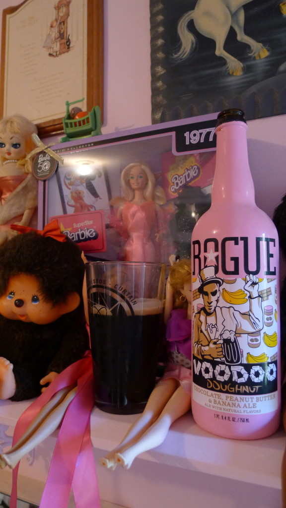 Rogue Brewings Voodoo Donut Ale sitting pretty with some friends.