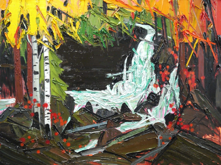 Woodland Waterfall (after Tom Thomson) by Kim Dorland with permission.