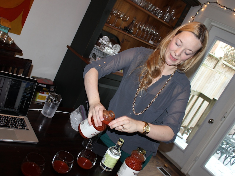 Jessica Scott pours Walter Caesar Mix.