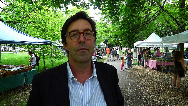 Winemaker Alessio Planeta taking in the sights and sounds of the Trinity Bellwoods Farmers' Market