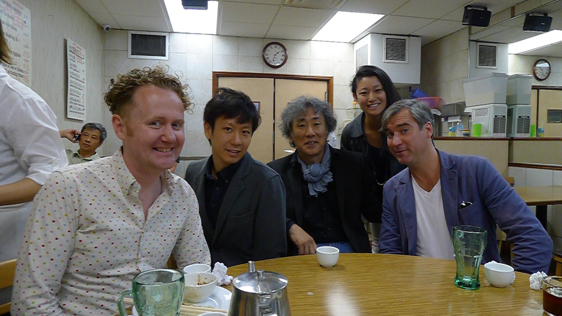 At Toronto's Swatow restaurant with Sake Brewers Kuheiji Kuno and Yusuke Hattori of Banjo Jozo.