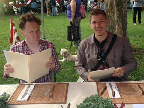 Good Food Revolution's Jamie Drummond getting down to some serious bacon judging with Trevor Benson of OCTA.