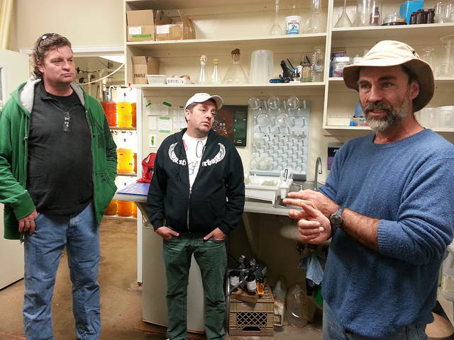 André Mallet schools Paul Bohmer and Adam Colquohoun in the art of oyster farming.
