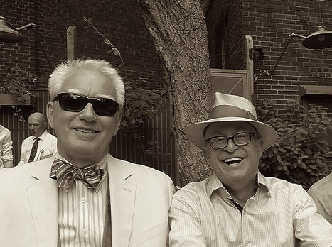 Kevin Gallagher enjoying the summer air with the subject of a forthcoming Old Hands Piece, Mr. John Maxwell.