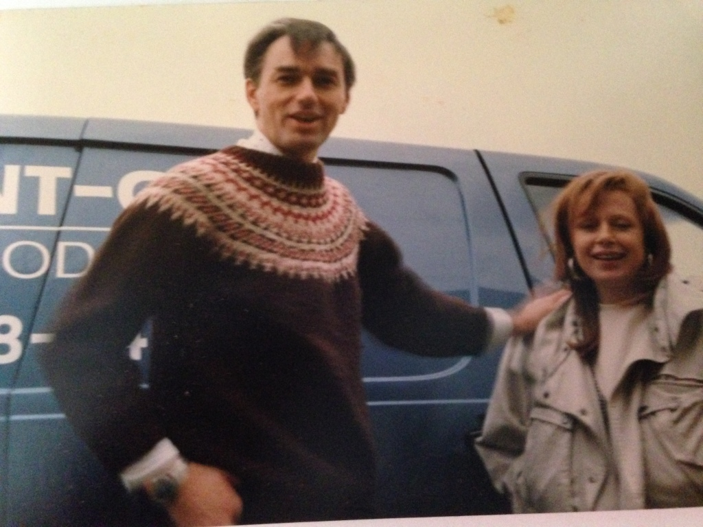 """""""taken in about 1988 - Donna and I (and our van) after finishing a catering gig"""""""