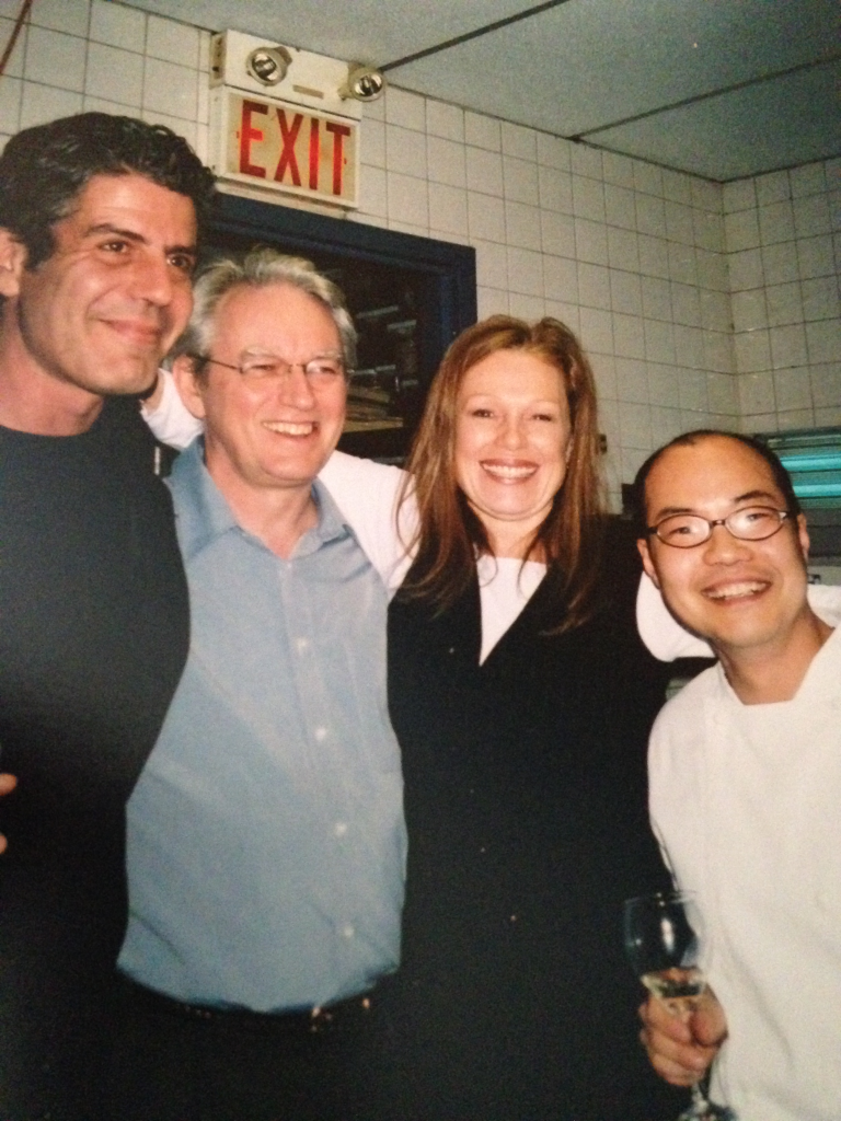 """Anthony Bourdain, Kevin Gallagher, Donna Dooher, and Steve Song at Mildred Pierce for the launch party of """"A Cook's Tour"""""""