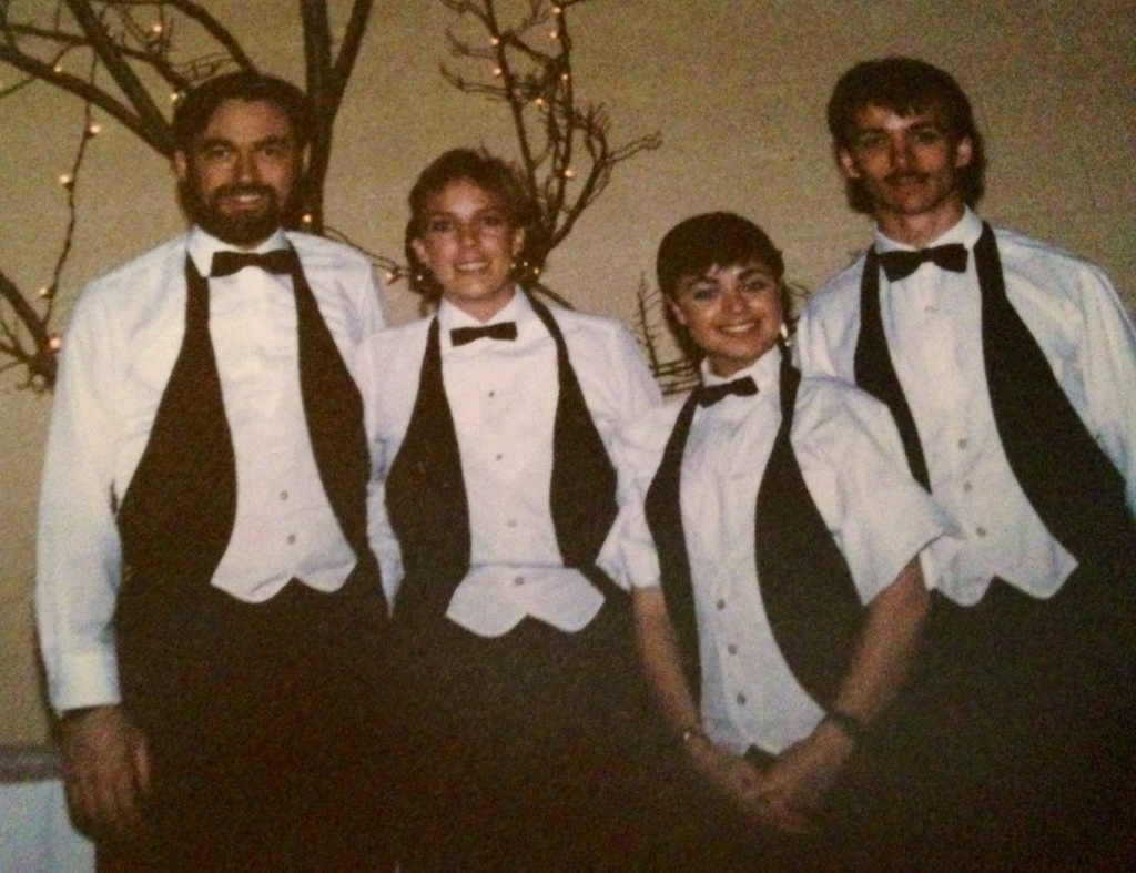 A bearded Kevin Gallagher at a catering gig circa 1986 (approx)