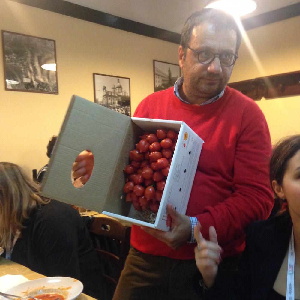 Giovanni Marino with Piennolo tomatoes