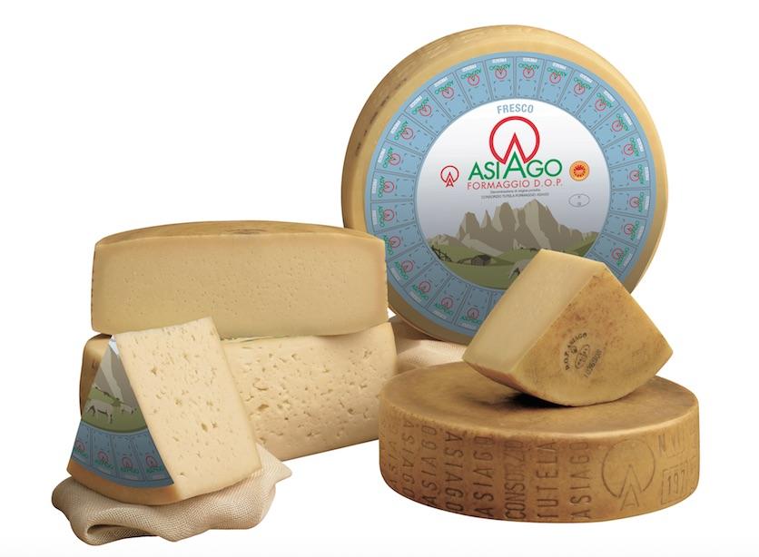 Asiago PDO cheese on display