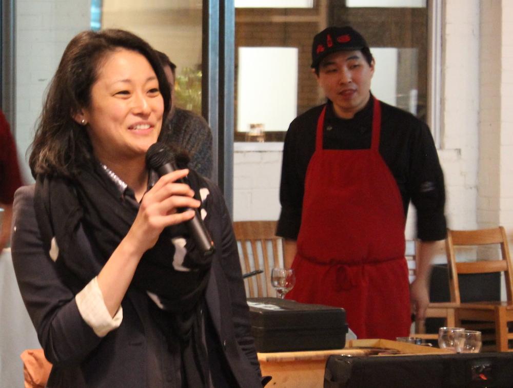 Mariko Tajira holds court