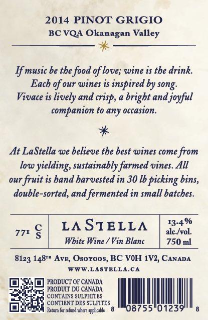 Pinot Girgiio LaStella label