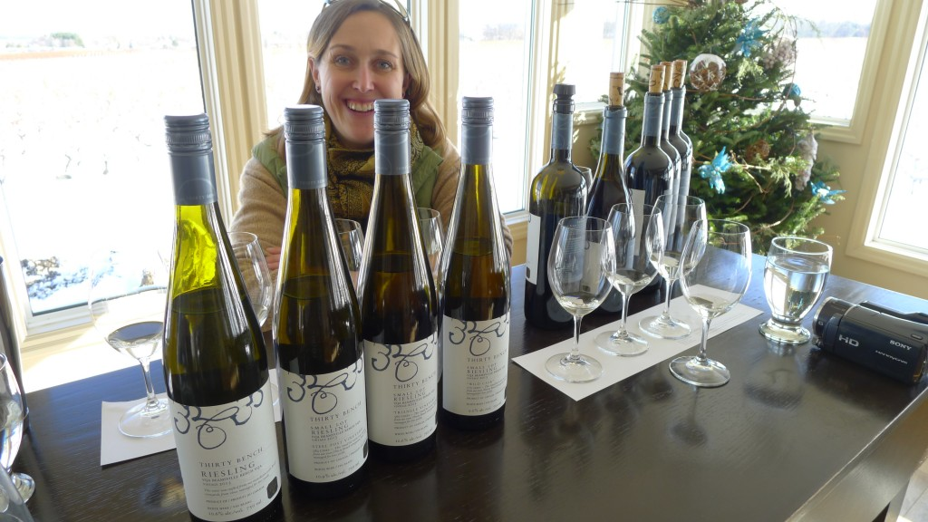 Winemaker Emma Garner at Thirty Bench (replete with Xmas tree).