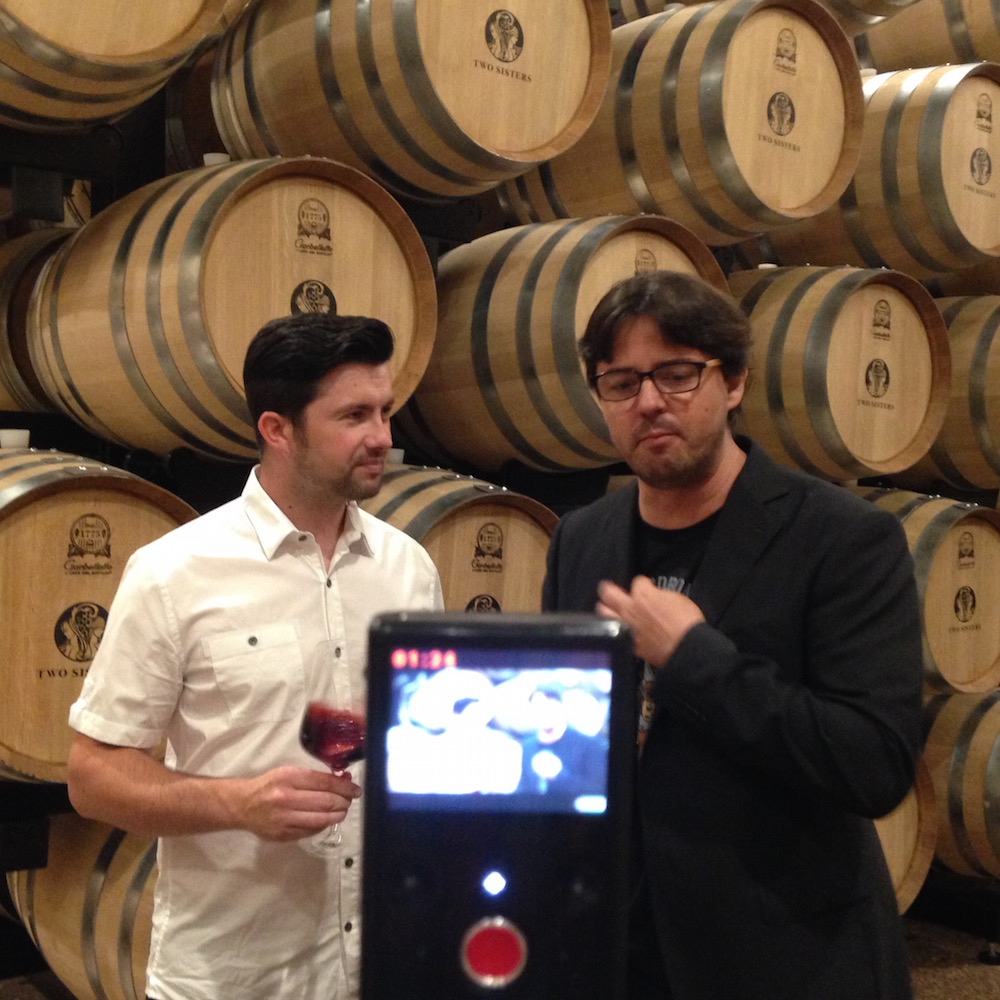 Zoltan tastes the 2012 Cabernet Sauvignon with Adam Pearce at Two Sisters Vineyards.