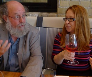 Sommelier Sara D'Amato quizzes Stratus Winemaker J.L. Groux over a spot of lunch at The Chase Fish and Oyster.