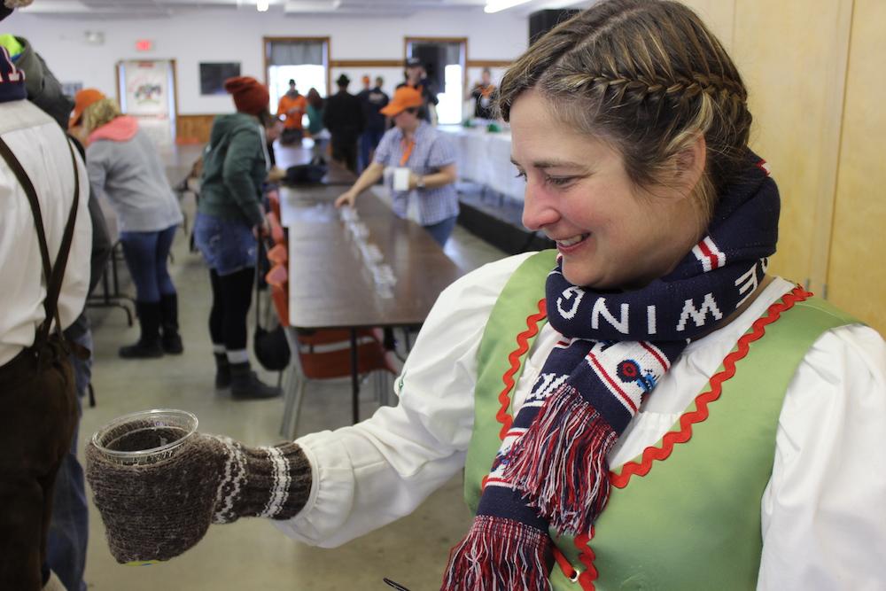 Jennifer Beauchesne with her mug glove