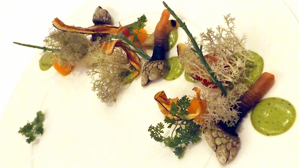 Chef Martin Kouprie of Pangaea's take on the gooseneck barnacle.
