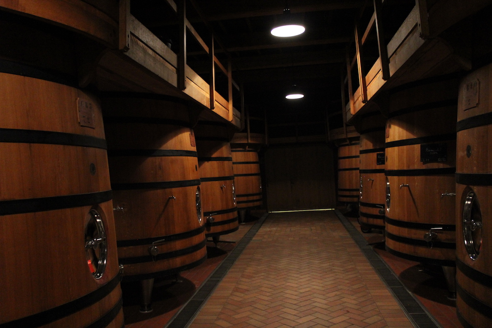 Foudres in the spotless cellars of Château de Beaucastel.