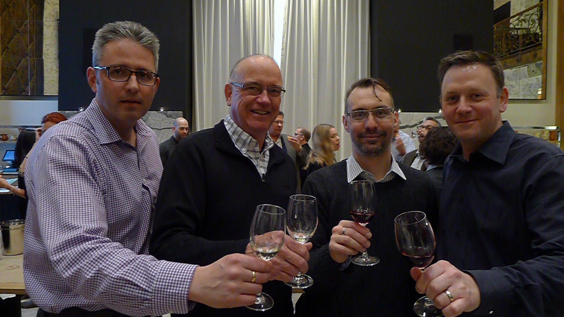 Steve Stoddart (Rogers and Co.), Steven Campbell (Lifford Agencies), and Joshua Corea (Archive Wine Bar).
