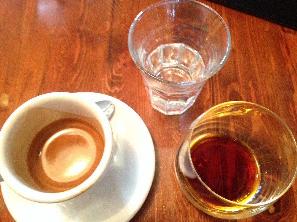 Perfect trio of Fernet Branca and espresso and water at Terroni