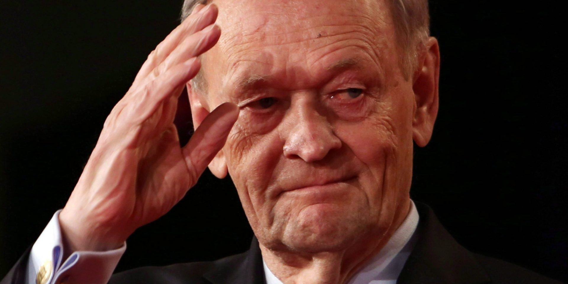 Former prime minister Jean Chretien saluts after addressing the Liberal Party leadership in Ottawa, Sunday April 14, 2013. Chretien is celebrated his 80th birthday Saturday. Chretien - who was PM for more than a decade between 1993 and 2003 - says he had a party with 80 family and friends Friday night in Montreal to mark the occasion. THE CANADIAN PRESS/Fred Chartrand