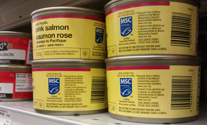 The MSC consumer-facing eco-label, as it appears on cans of no name® Wild Pink Salmon at a grocery store.