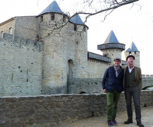 Good Food Revolution's Jamie Drummond shares a laugh in Carcassonne with German wine writer Stefan Schwytz.