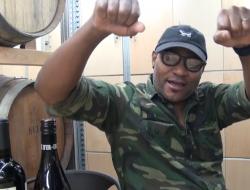 Mouton Noir's Black Sheep, Winemaker André Hueston Mack celebrates a wine at Toronto's Wine Academy.