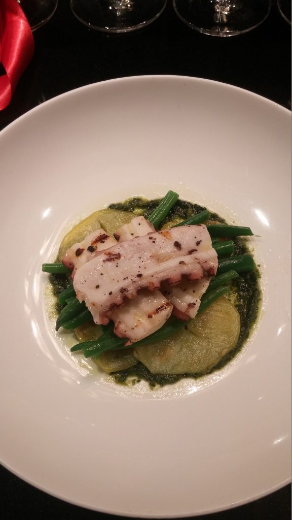 Poplo - grilled octopus, potato, green bean, basil pesto
