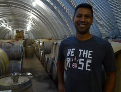 Winemaker Shiraz Mottiar at home in his barrel cellar at Malivoire... and he's looking pretty happy about the 2016 vintage thus far.