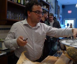 Cornel from Acadian Sturgeon dishing out his new lines to some lucky folks at Toronto's Oyster Boy.