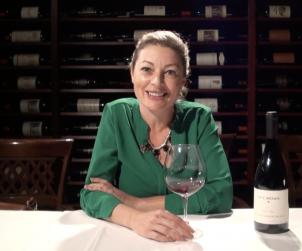Jennifer Huether MS enjoying a glass of La Crema Pinot Noir in Barberian's cellar.