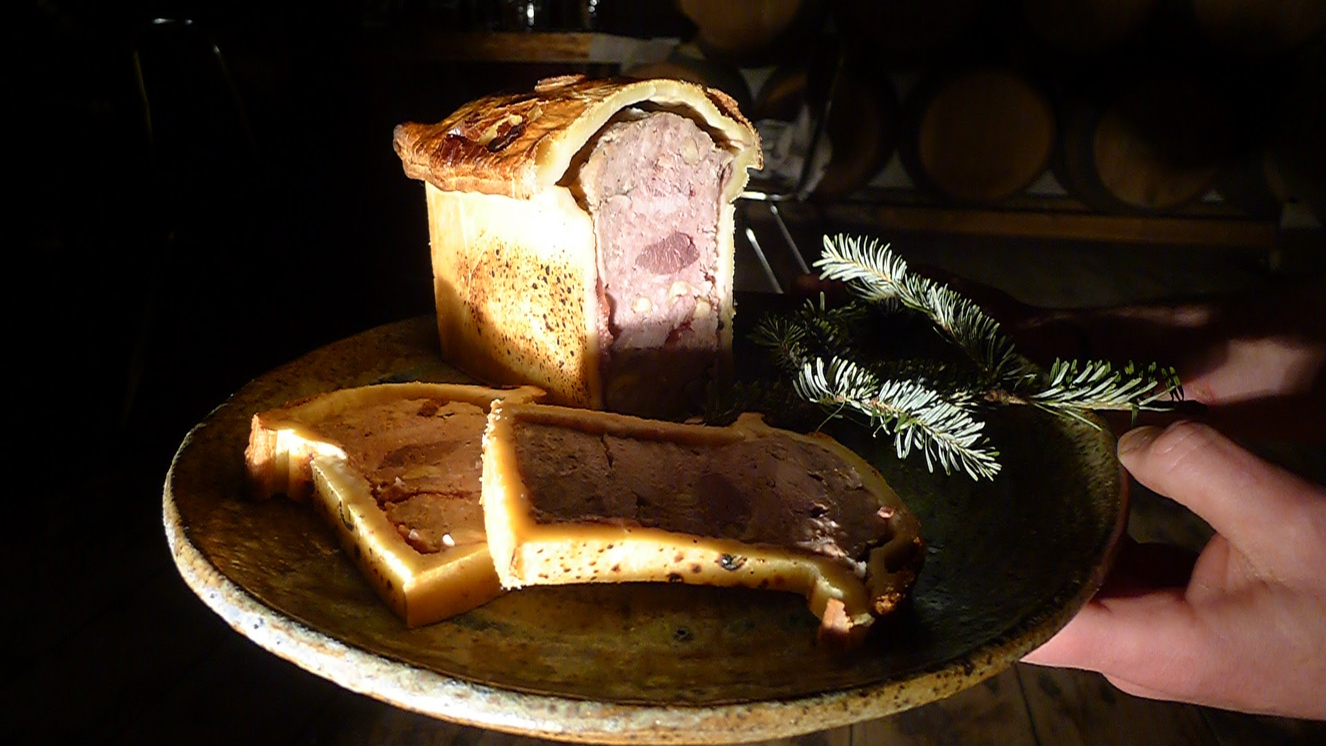 Game Paté-En-Croute, stuffed with pheasant, duck, goose, rabbit, and venison. Served with cressy mustard and cornichon. Mind-blowing, and served with some vintage Hinterland Rosé.