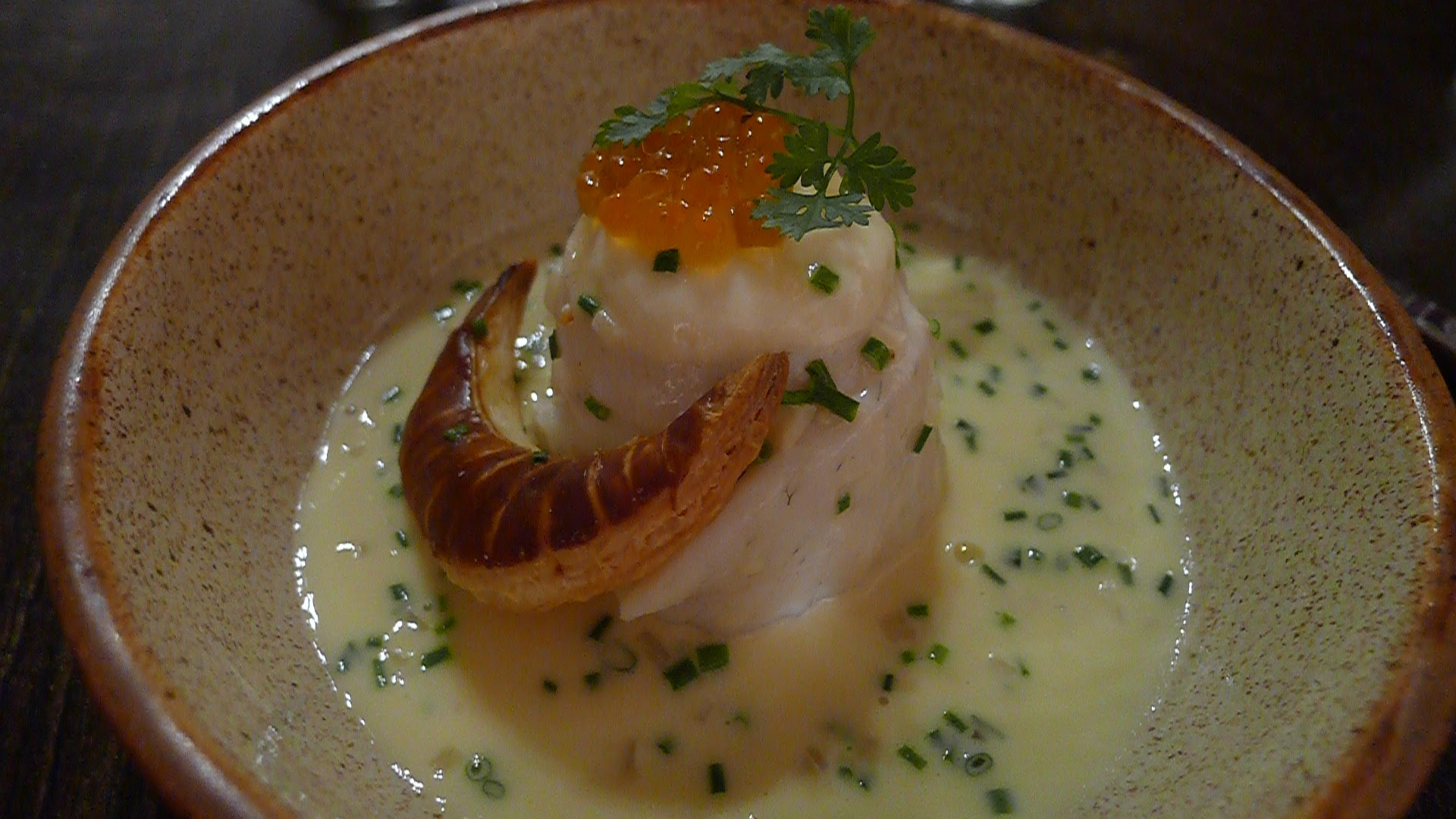 Lake Pickerel (Walleye) Paupiette with a Salmon Roe Beurre Blanc and Fleuron, served alongside the gorgeous 2013 Les Etoiles from HInterland.