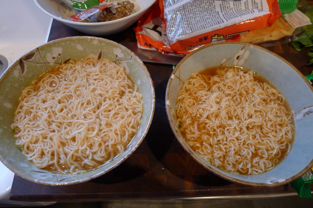 A Tale Of Two Broths : On the left the murky broth that comes from using the same water that the noodles are cooked in. On the right we have taken that extra step with the noodles and used an extra pot of water to make the broth.