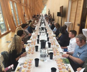 "A huge turnout for the Wines Of Ontario ""What's Your Skin In The Game?"" Orange Wines tasting seminar at this year's Terroir Symposium."