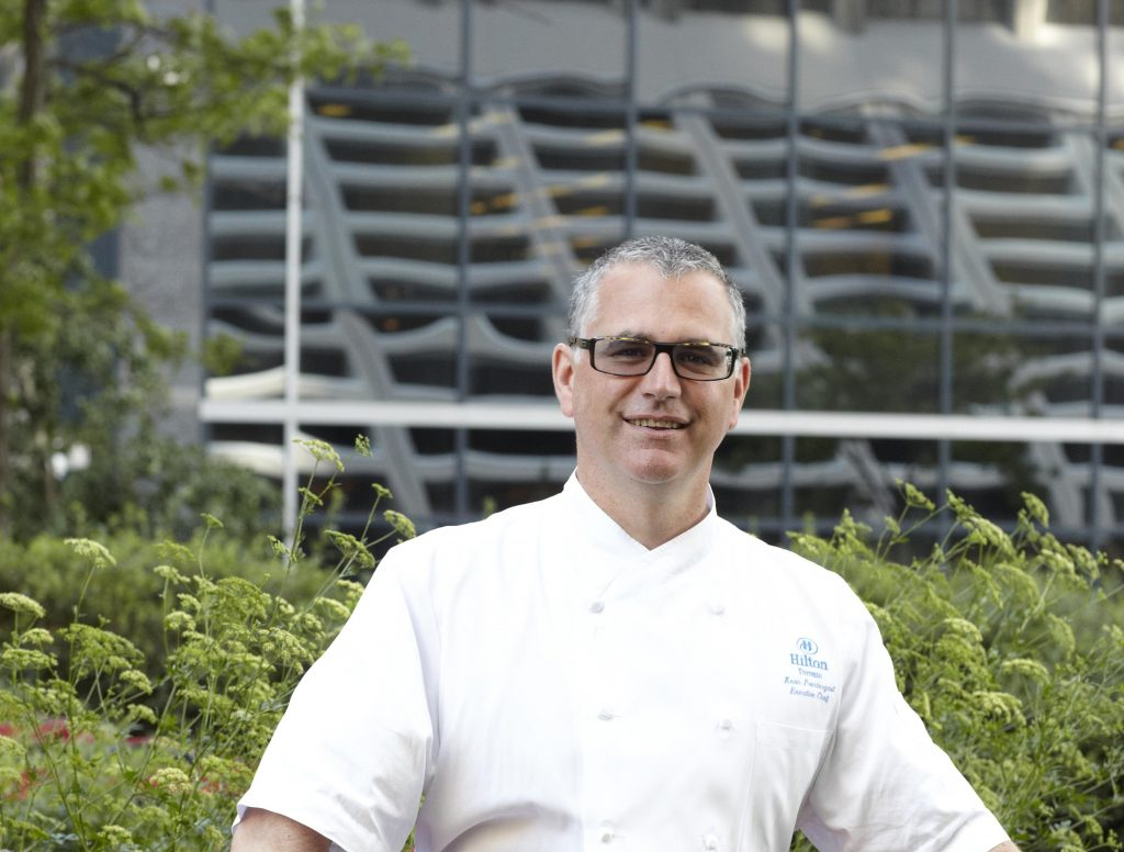 Executive Chef of the Toronto Hilton, Kevin Prendergast, pictured her in the hotel's herb garden.