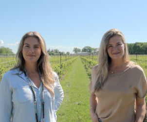 Angela and Melissa Marotta AKA The Two Sisters are very much at home in their Niagara River vineyards.