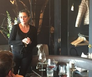 Punset's Marina Marcarino shows her biodynamic wines to a small group of sommeliers at Toronto's alo restaurant.