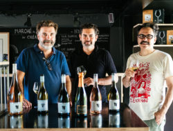 Laurent Calmel, Jérôme Joseph, and Convenanza's Bernie Fabre taste through the wines for this year's festival in Sète.