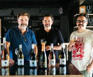 Laurent Calmel, Jérôme Joseph, and Convenanza's Bernie Fabre taste through the wines for this year's festival in Sète.