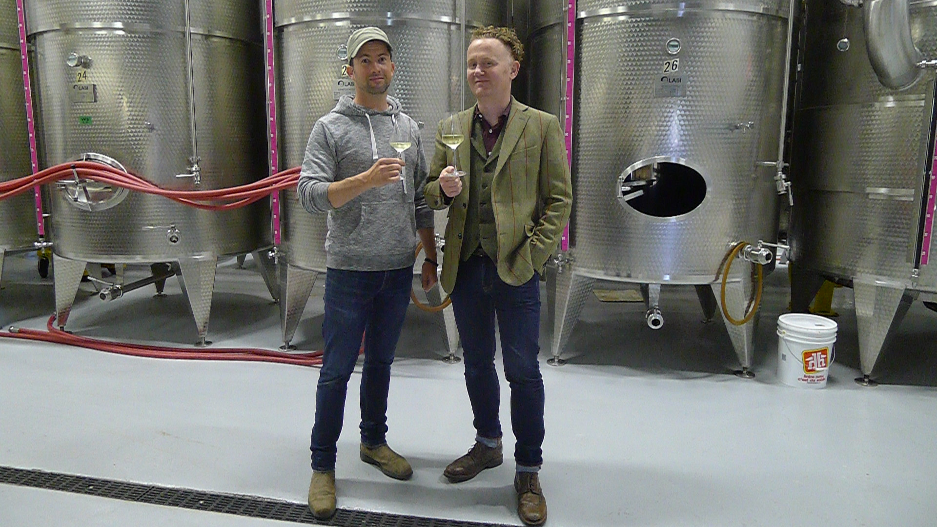 Two Sisters Winemaker Adam Pearce with Good Food Revolution's Adam Pearce at the winery.