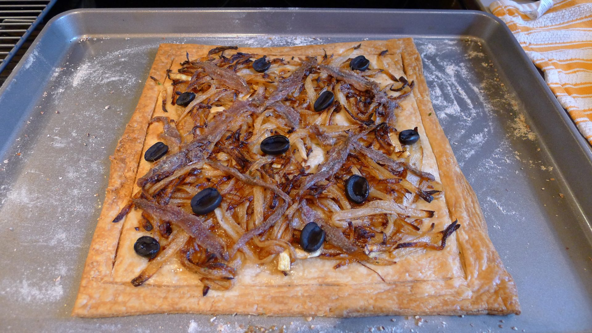 A rough-and-ready Pissaladière made with the aid of frozen puff pastry.
