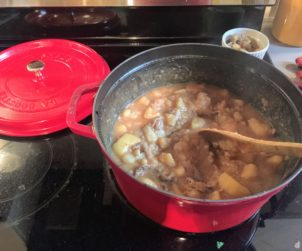 A large pot of one the most satisfying of Scottish dishes : Stovies