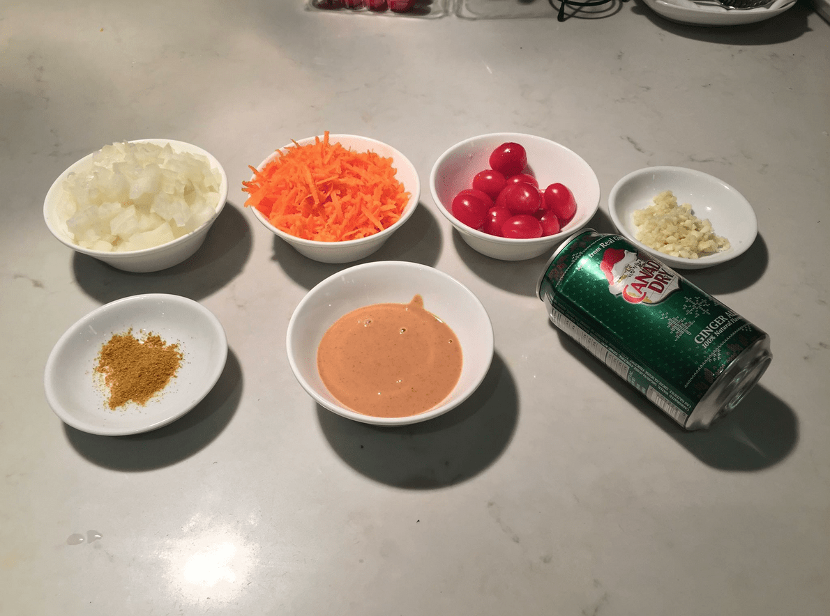 The Urban Peasant's Peanut Butter Soup mise en place.