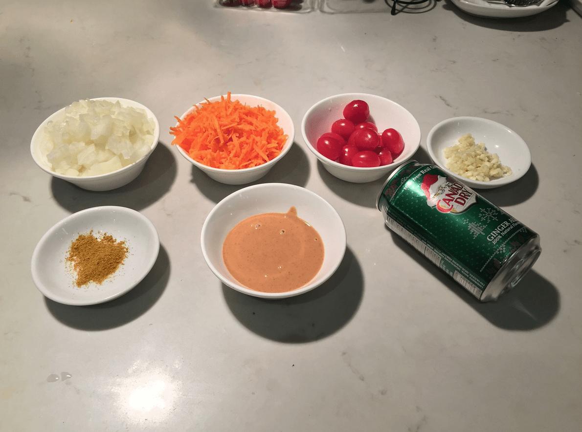 The Urban Peasant's Peanut Butter Soup mise en place.