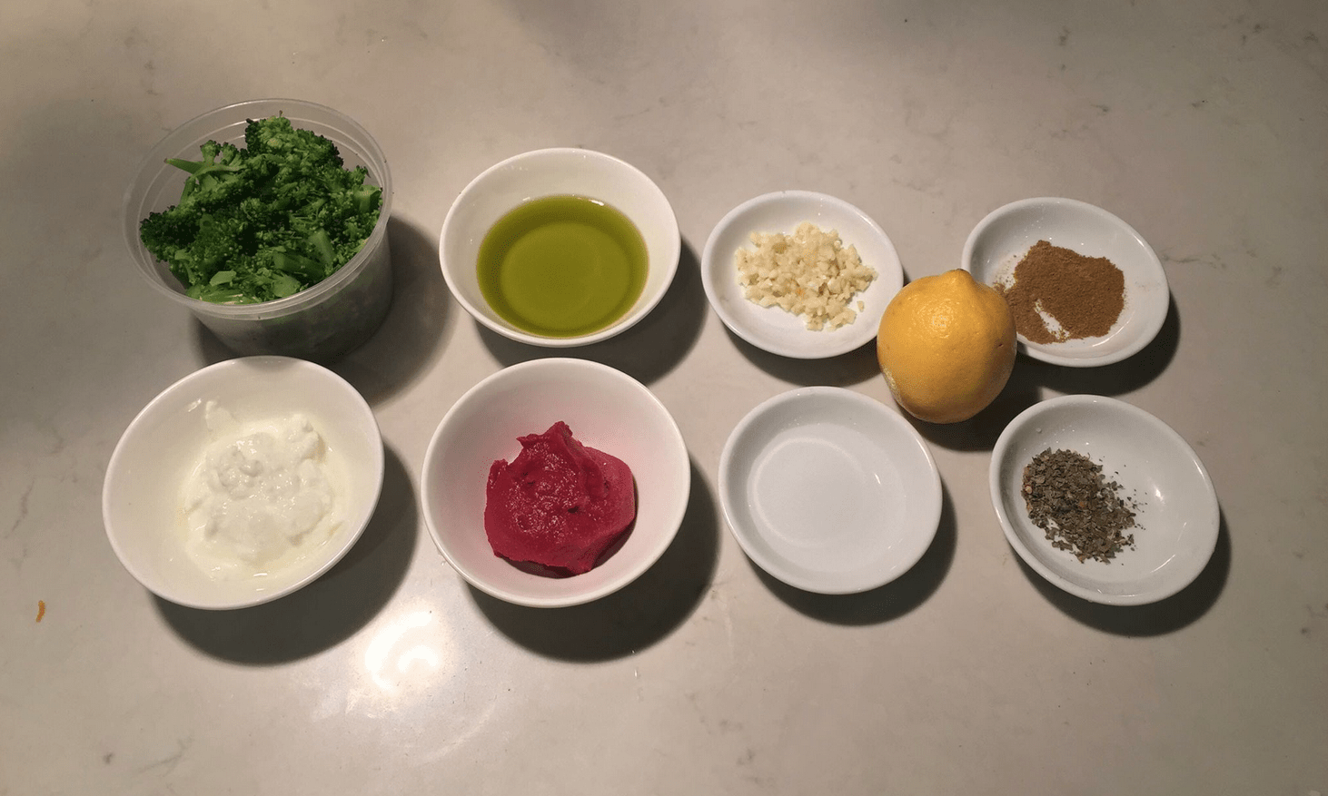 The Urban Peasant's Leftover Broccoli Sauce mise en place.