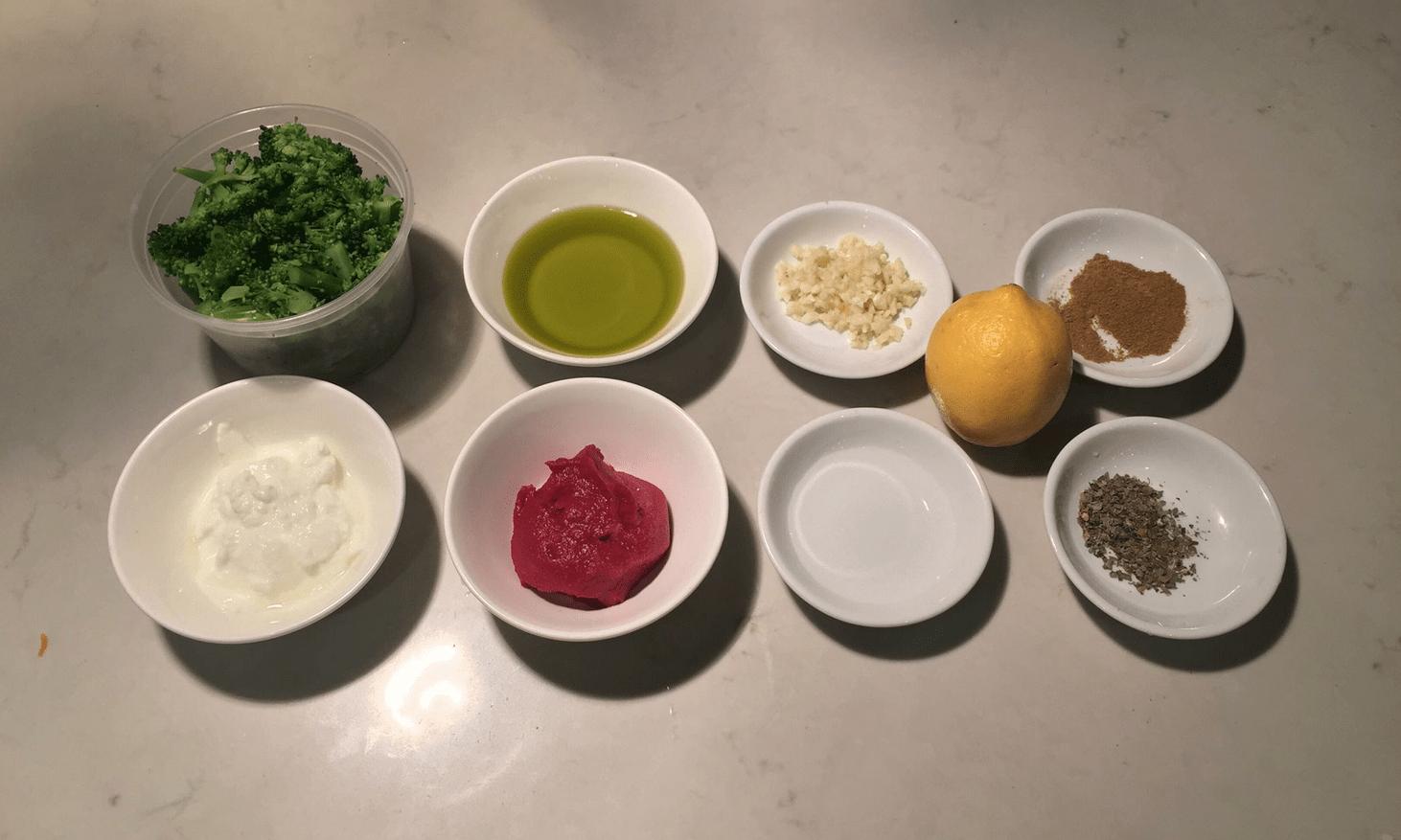 The Urban Peasant's Leftover Broccoli Sauce mise en place.